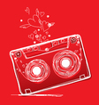 Hand drawn love cassette tape vector image