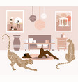hand drawn lying girl in room vector image
