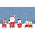 happy cute santa snowman christmas cartoon in the vector image vector image