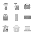 Household appliances set icons in monochrome style vector image vector image