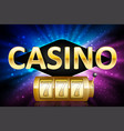 jackpot shiny gold lucky casino lotto label with vector image vector image