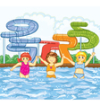 kids playing in the swimming pool vector image vector image