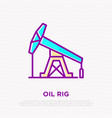 oil rig thin line icon modern vector image vector image