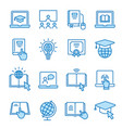 online education flat line icon set vector image vector image