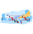 passengers boarding airplane people at airport vector image vector image