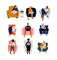 people sitting at home in comfortable armchair set vector image vector image