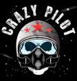 pilot skull t shirt graphic design vector image