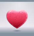 polygonal pink heart shape isolated with shadow vector image