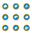 pooch icons set flat style vector image vector image