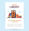 poster online library a mobile phone with library vector image vector image