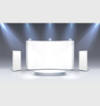 scene show podium for presentations on grey vector image vector image