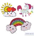 set with funny unicorn and clouds vector image vector image