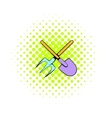 Shovel and pitchfork icon comics style vector image vector image