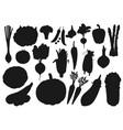 Silhouette icons organic farm vegetables