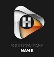 silver letter h logo in golden-silver triangle vector image vector image