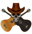 skull wearing a cowboy hat on a background of vector image vector image