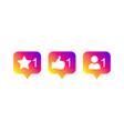 social media modern like 1 follower 1 comment 1 vector image vector image