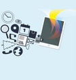 tablet with media icons and colorful vector image vector image