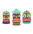 tiki mask cartoon set vector image vector image