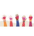 trendy with different hands holding heart concept vector image vector image