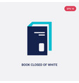 two color book closed white cover icon from vector image