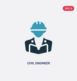 two color civil engineer icon from professions vector image vector image