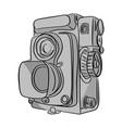 vintage camera with black lines vector image vector image