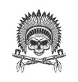 vintage indian chief skull without jaw vector image