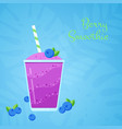 violet fresh blueberry natural smoothie cocktail vector image vector image