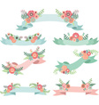 Wedding Flora with Banners vector image vector image