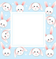 white rabbit on light blue banner card vector image