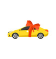 yellow car with red bow icon vector image vector image