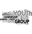 youth leadership activities text word cloud vector image vector image