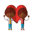 cute black kids with heart characters icon vector image