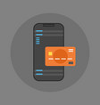 mobile payment icon cell smart phone and credit vector image