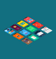 isometric mobile app ui design concept vector image