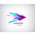 abstract arrow logo origami faceted icon vector image