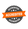 accredited sign accredited orange-black circular vector image vector image