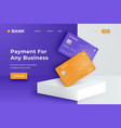 bank cards on a square white podium realistic vector image