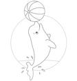Beluga playing a ball vector image vector image