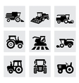 black agricultural transport icons set vector image