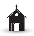 black and white church icon flat with shadow vector image