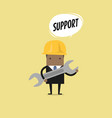 businessman holding a wrench with text support vector image vector image