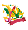 carnival festival masks feathers jester hat vector image vector image