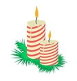 Cartoon candles on tree branch vector image vector image