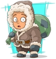 Cartoon cute little eskimo boy vector image