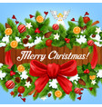 christmas greeting on wooden banner with xmas tree vector image vector image