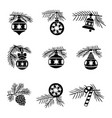 christmas-tree decorations balls set vector image