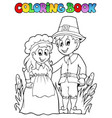 coloring book thanksgiving image 2 vector image vector image
