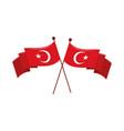 crossed flags turkey vector image vector image